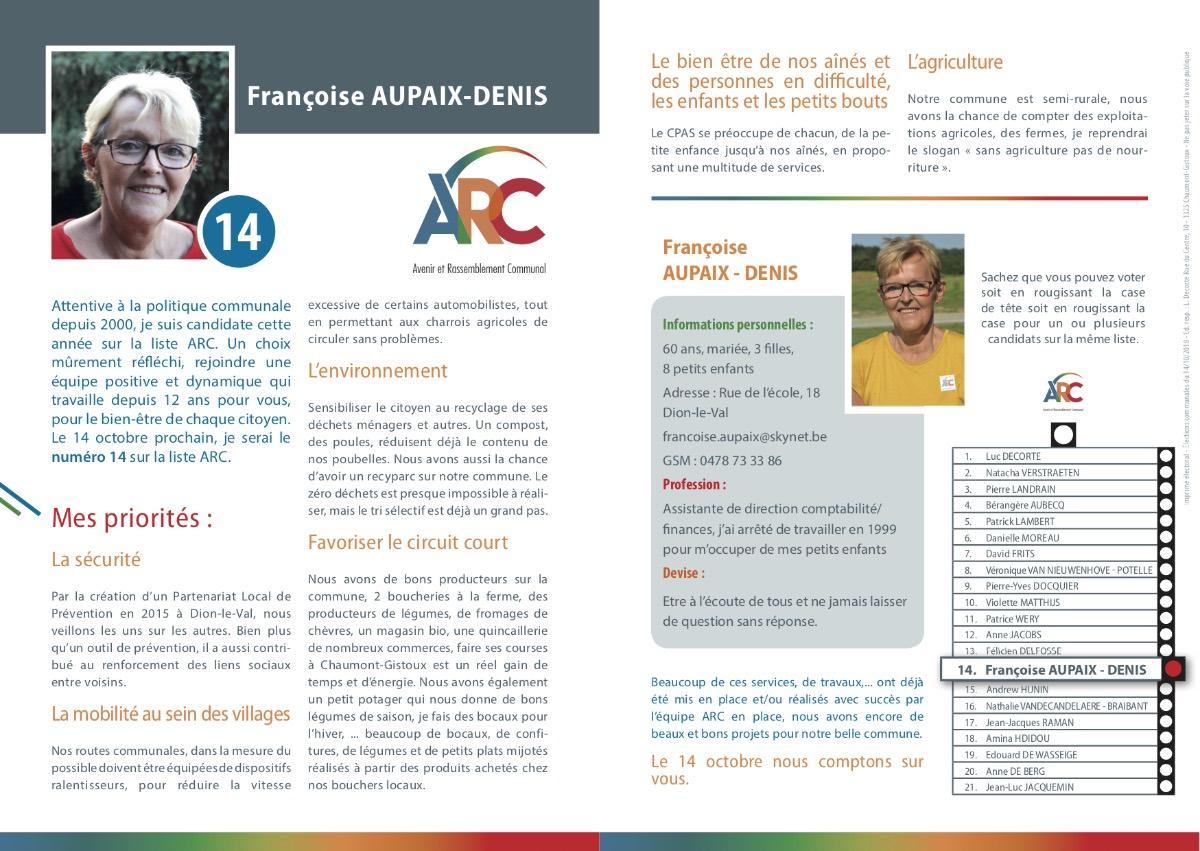 Tract personnel Françoise AUPAIX-DENIS